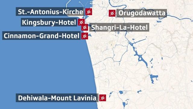 Karte der Attentate in Colombo.