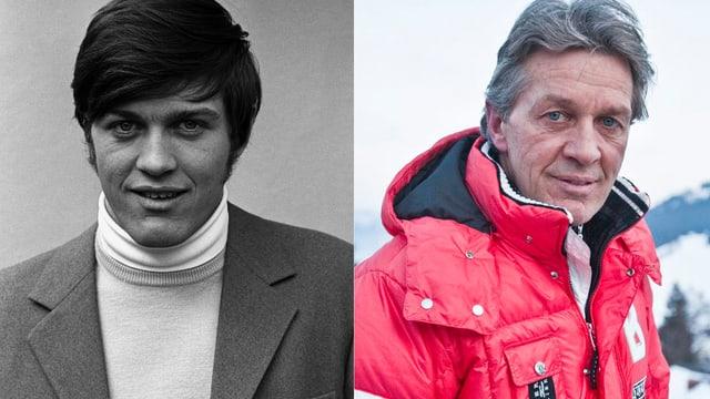 Zwei Aufnahmen von Bernhard Russi nebeneinandergestellt: Das linke Bild zeigt ein schwarzweiss Porträt des jungen Bernhard Russi. Das linke Bild zeigt Russi heute, in roter Ski-Jacke und mit grauen Haaren.