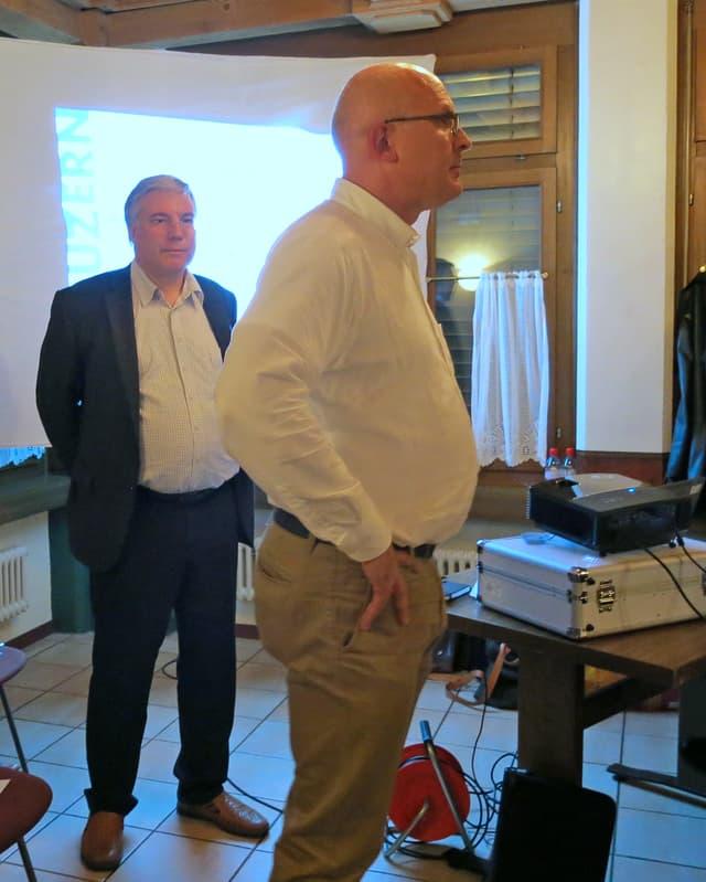 Ruedi Fahrni, Asylkoordinator des Kantons Luzern und Lothar Sidler, Sozialvorsteher der Gemeinde Kriens.
