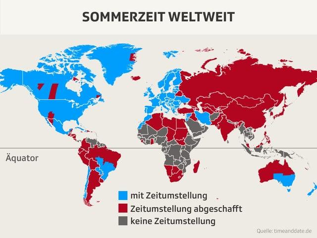 Weltkarte mit eingefärbten Kontinenten.