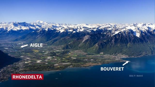 Blick auf das Rhonetal und das Rhonedelta