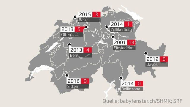 Karte mit den Standorten der acht Babyfenster in der Schweiz