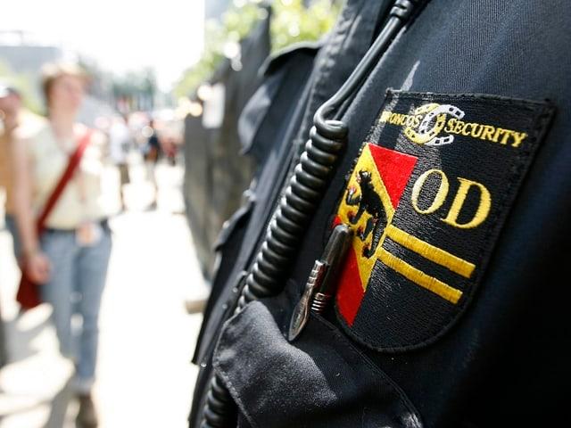 Emblem der Bronco-Sicherheitsleute auf einer Jacke, hier am Gurten-Festival in Bern.