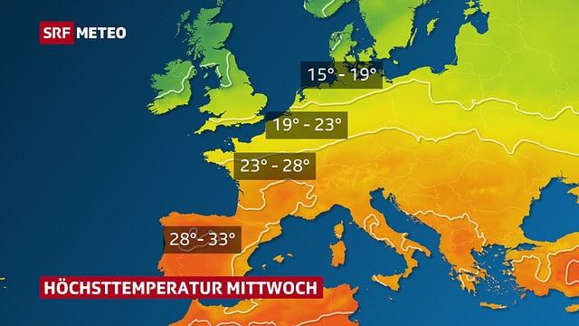 Farblächen zeigen den Temperaturverlauf  in Europa für die Mitte nächster Woche. Die rötlichen - warmen - Flächen reichen vom Mittelmeer bis zu Mitte von Deutschland.