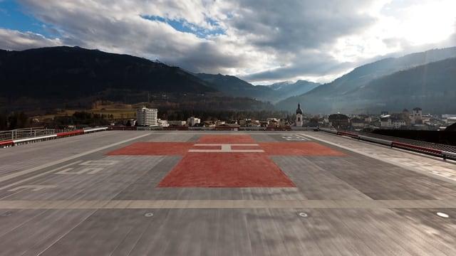 Helikopterlandeplatz auf dem Spital in Ilanz.