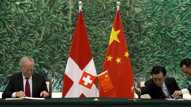 Johann Schneider-Ammann und der chinesische Handelsminister unterzeichnen Dokumente.