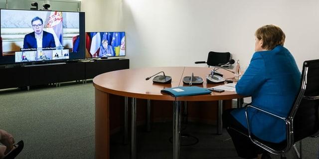Hoti und Vucic in der Videokonferenz mit Merkel