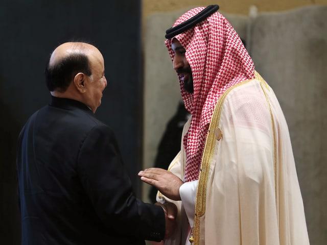 Abd Rabu Mansur Hadi mit dem saudischen Kronprinzen Mohammed bin Salman