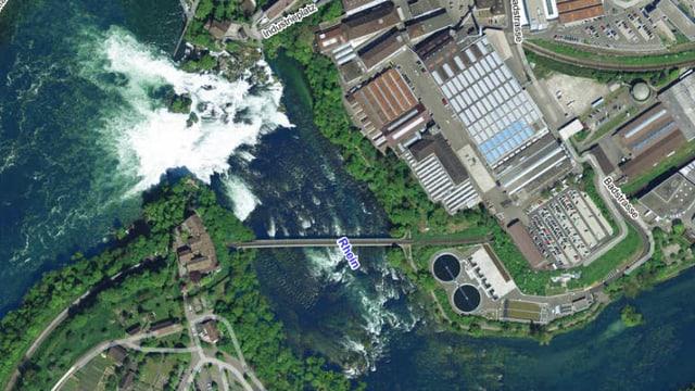 Satellitenbild des Rheinfalls.