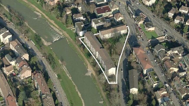 Luftaufnahme der alten Häuser in Birsfelden