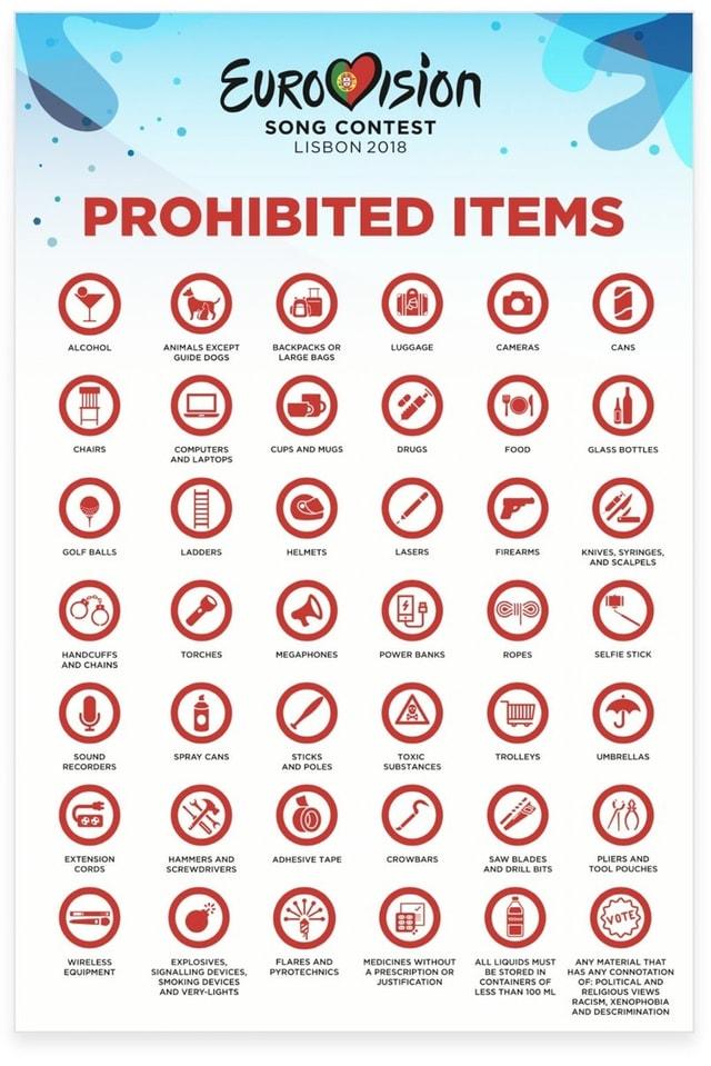 Liste verbotener Gegenstände