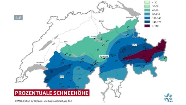 Karte der prozentualen Schneehöhe.