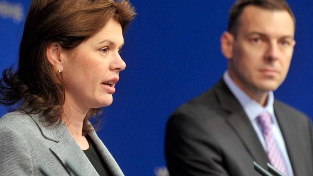 Sloweniens Regierungschefin Alenka Bratusek und Finanzminister Uros Cufer.