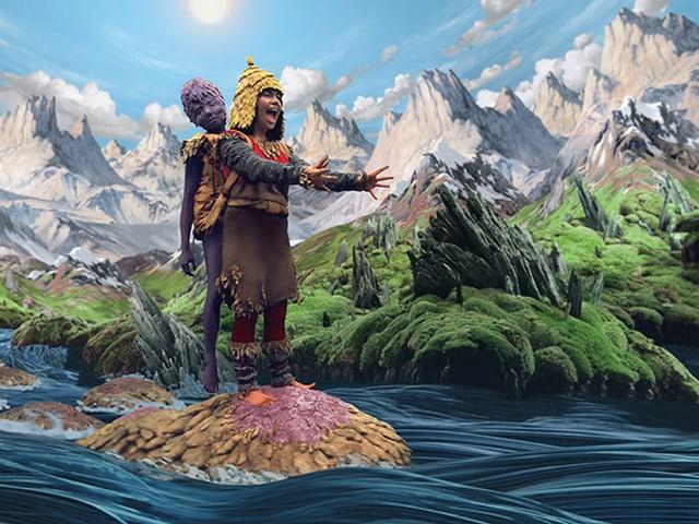 Zwei Personen in bunten Kleidern auf einem Stein im Fluss.