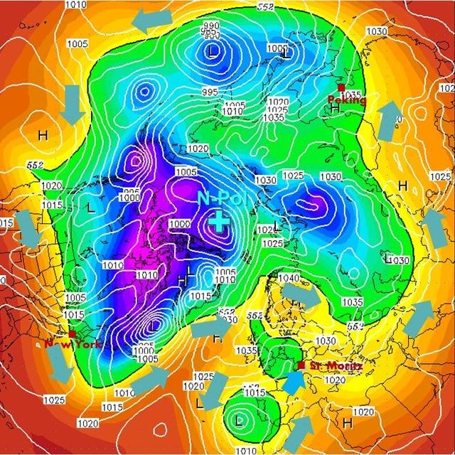 Karte der Nordhalbkugel mir dem Pol in der Mitte. Eine amöbenartige Fläche in grün bis violett sybolisiert die Kaltluft, an dessen rand der Jetstream weht.
