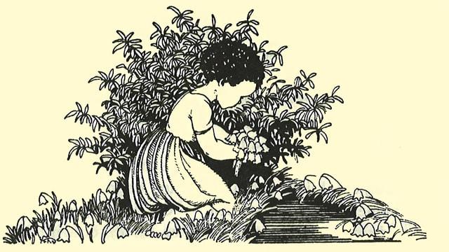 Zeichnung eines Mädchens, das am Boden kniet und Blumen pflückt.