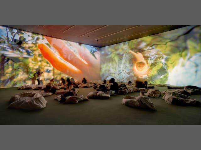 Raum mit Projektionen von Körperteilen eingetaucht in Wasser auf den Wänden, davor eine Art Kissenhaufen mit Menschen, die darauf sitzen oder liegen.