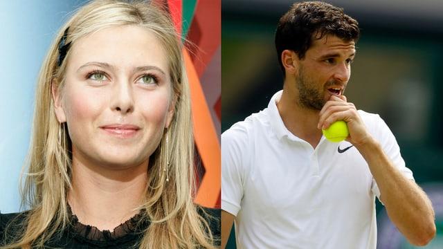 Kopf von Scharapowa mit blondem Haar links, rechts Dimitrow im weissen Shirt und Tennisball in der Hand
