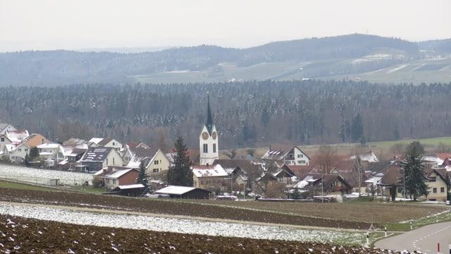 Ein Dorf auf dem Land mit Kirche und Bauernhäusern