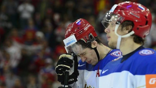 Russische Nationalspieler nach dem verlorenenen WM-Final.