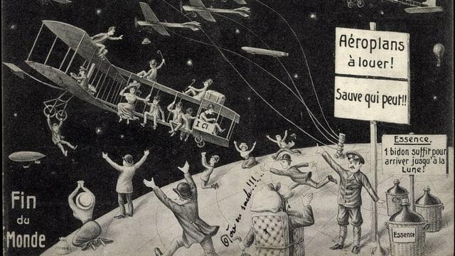 Zeichnung von 1910, die zeigt, wie Menschen versuchen, per Flugzeug dem Kometen zu entfliehen