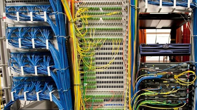 Zu sehen ist ein Serverraum mit vielen Kabeln.