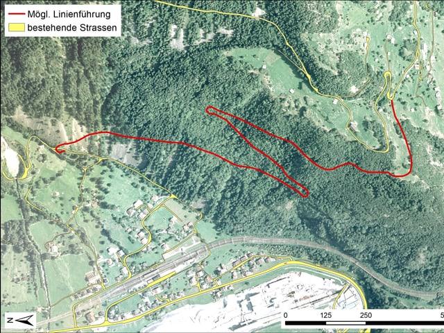 Ein Kartenausschnitt (Satellitenaufnahme) mit eingezeichneten roten und gelben Linien.