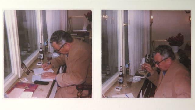 Bilder von Erich Kästner, schreibend, trinkend und rauchend.