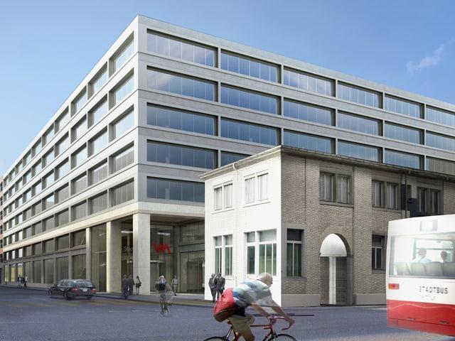 Visualisierung eines neuen, modernen Gebäudes