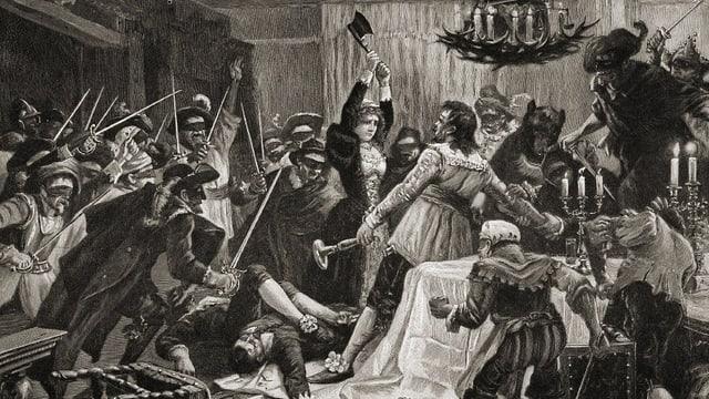 Das Gemälde zeigt, wie Jörg Jenatsch im Wirtshaus ermordert wird.