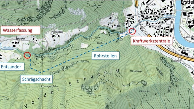Projektskizze auf einer Landkarte eingezeichnet