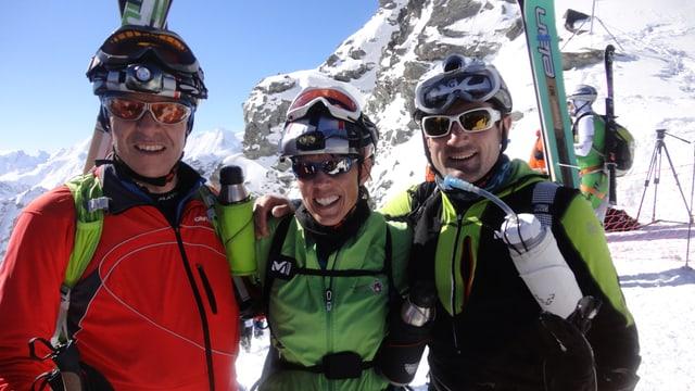 Andri Lansel, Gianna Rauch e Andri Poo sin la Rosa Blanche sin 3150 meters sur mar, l'onn 2014