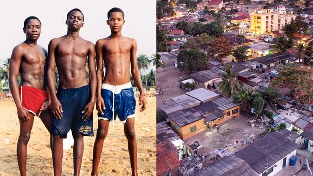 Geteiltes Bild: Rechts ein armes Wohnquartier von oben, links drei Jungen posieren am Strand.
