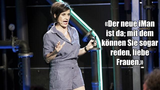 Ein Text-Fragment von Anet Cortis Auftritt bei Comedy aus dem Labor: «Der neue iMan ist da; mit dem können Sie sogar reden, liebe Frauen.»