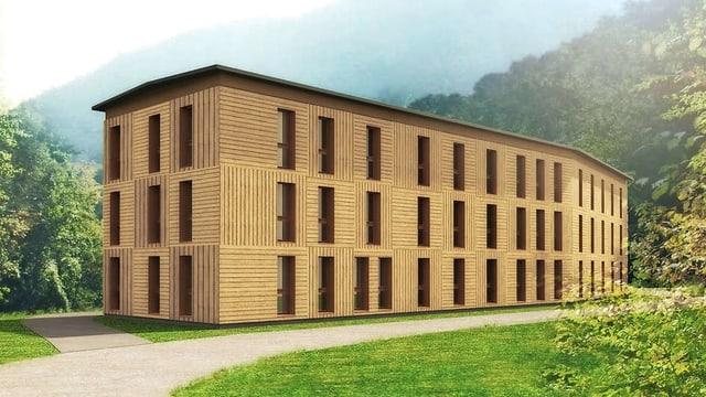 Visualisaziun dal center d'asil a Meiersboden.