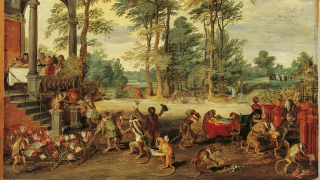 Satirisches Genrebild von Jan Brueghel d.J. auf die Tulpenmanie seiner Zeit: Affen verkaufen Affen Zwiebeln.