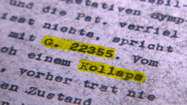 Ausschnitt aus einem maschinegeschriebenen Dokument mit dem Eintrag «G. 22355» und «Kollaps».