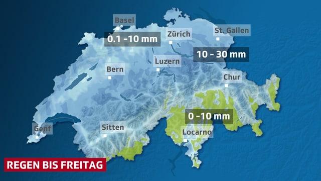 In Blau sind die Bereiche mit Niederschlag- bis Freitag-auf der Schweizkarte dargestellt, im Tessin und Teile Graubündens fällt kaum Regen.