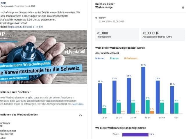 Hat sich eine Partei für Transparenz entschieden, werden für jede Werbeanzeige zusätzliche Informationen wie Kosten und erreichte demographische Gruppen angezeigt (Screenshot vom 23.8.19).