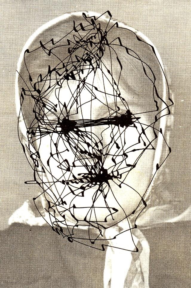 Schwarzweiss-Portrait mit schwarzen Vermessungen.
