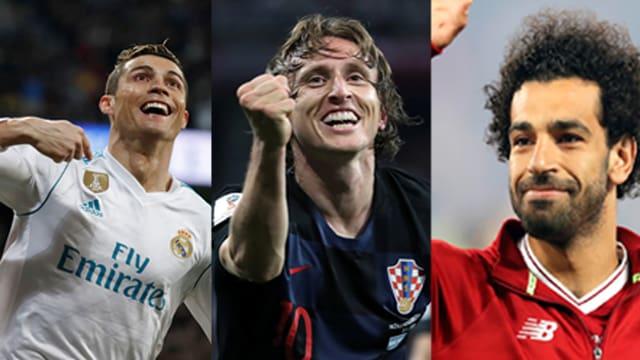 Cristiano Ronaldo, Luka Modric und Mohammed Salah (v.l.n.r.).