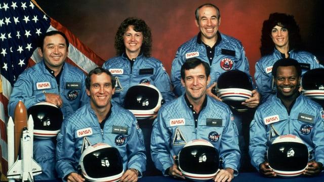 Foto der sieben Mitglieder der Challenger-Mission 1986.