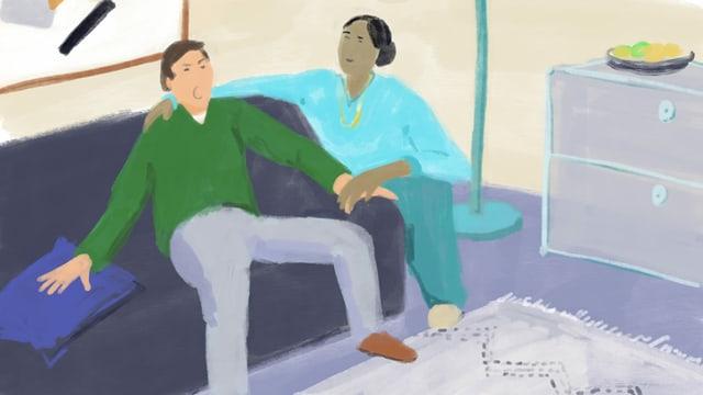 Illustration von einem Mann, der auf einem Sofa sitzt und von einer Frau neben ihm gehalten wird.