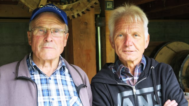 Porträt zweier Mitglieder der Heimatkundlichen Vereinigung Giswil: Gregor Halter und Ludwig Degelo.