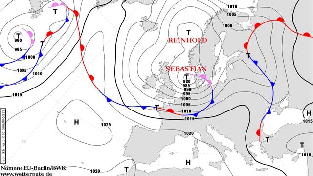 Bodendruck- und Frontenkarte für Europa: Über der Nordsee liegt das Sturmtief «Sebastian».