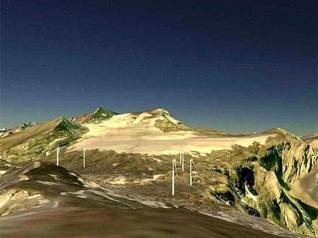 Visualisierung: Sechs Windräder, im Hintergrund ein Berg