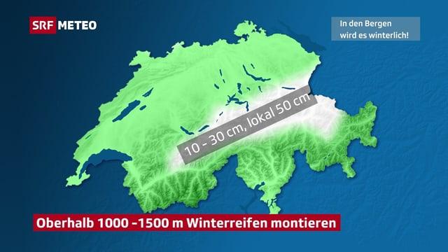 Schweizer Karte mit weiser Einfärbung am Alpennordhang. Hier gibt es 10 bis 30, lokal 50 cm Neuschnee.