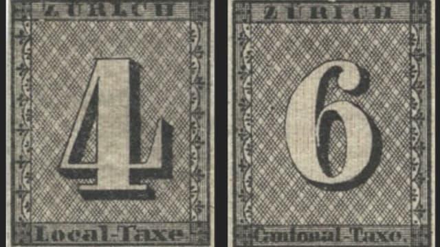 Briefmarken Zürich 4 und Zürich 6.