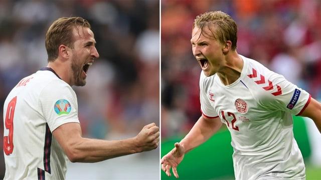 Englands Torgarant Harry Kane und Dänemarks Kasper Dolberg