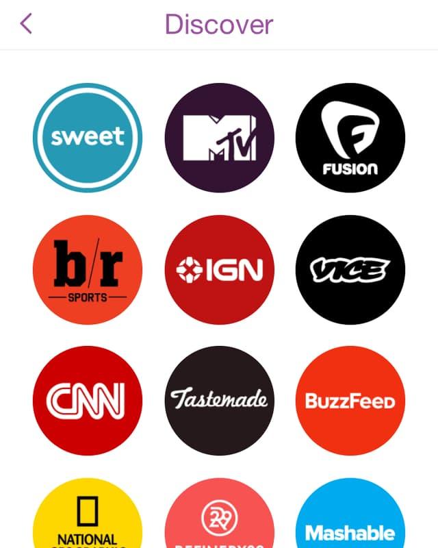 Ein Screenshot mit den Logos von Snapchats Medienpartnern.